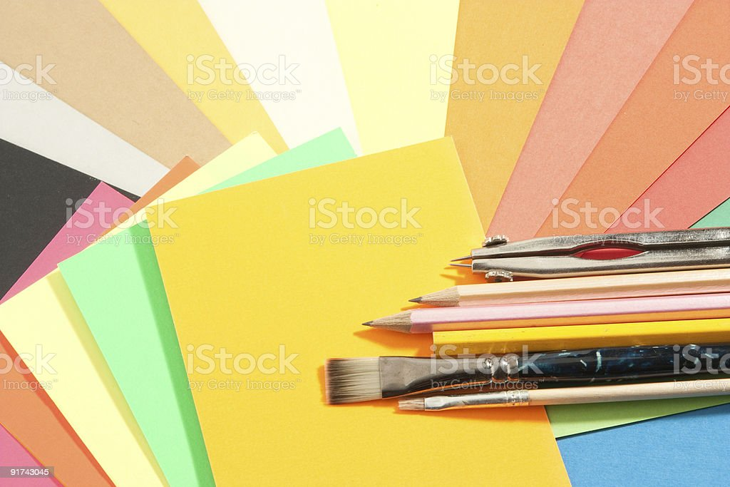 school supplies on colored papers royalty-free stock photo