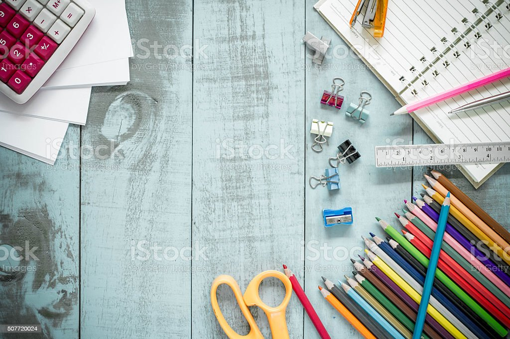 School supplies on Vintage old blue Wood Texture Background. stock photo