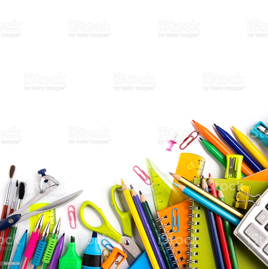 School supplies on white background stock photo