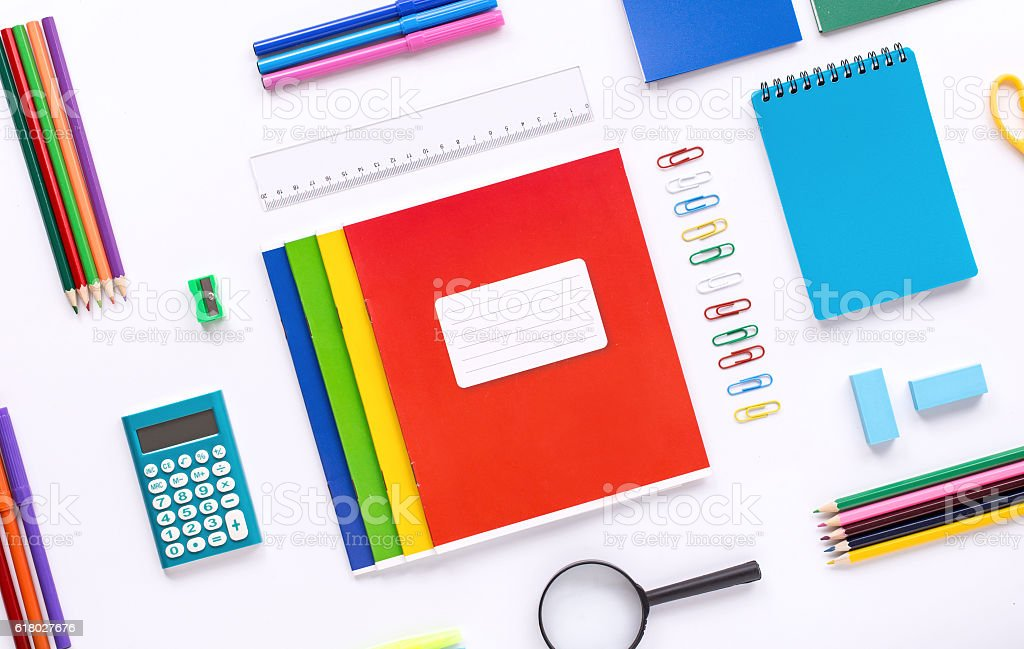 School supplies on white background, top view stock photo