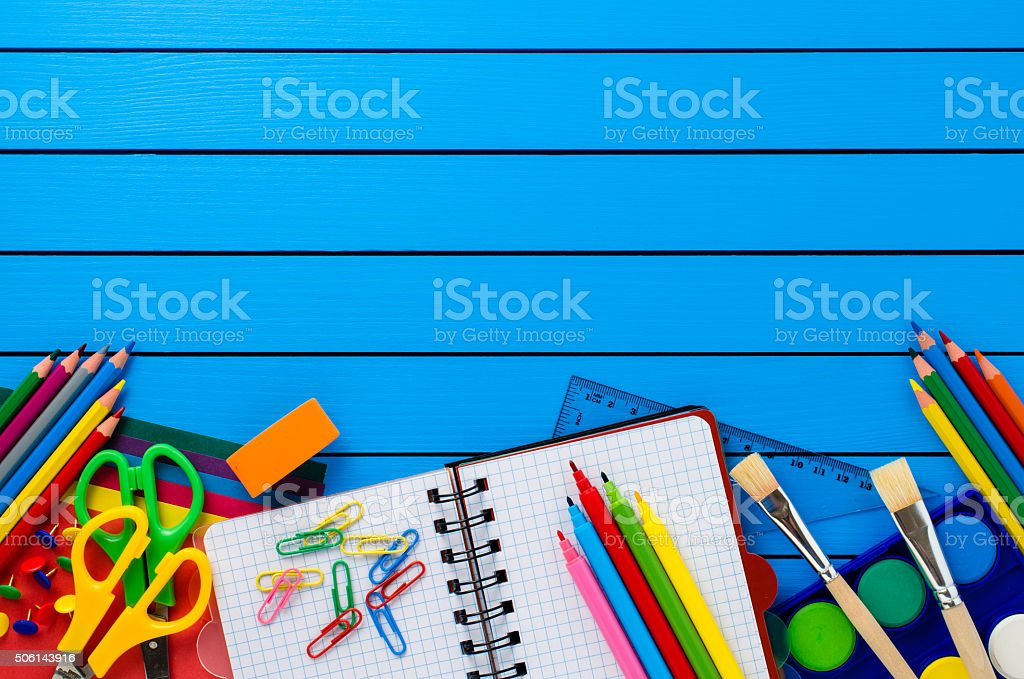 School supplies on wooden table stock photo