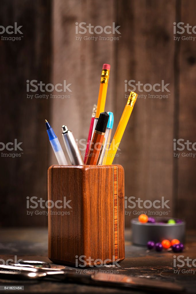 School Supplies - Pens and Pencils in Wood Holder stock photo