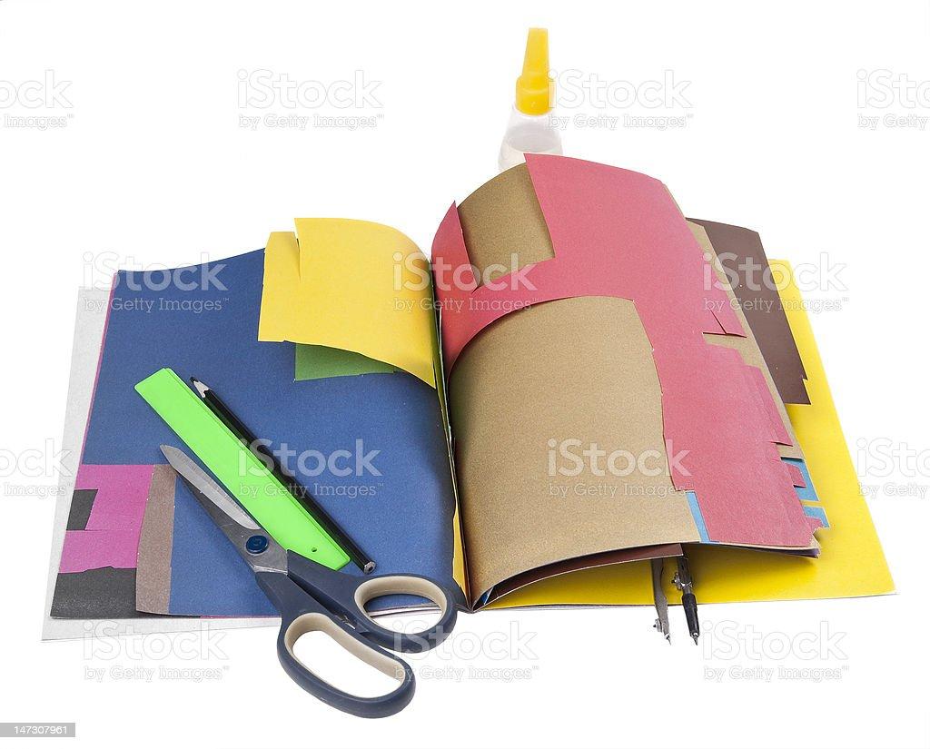 School supplies scissors glue compasses royalty-free stock photo