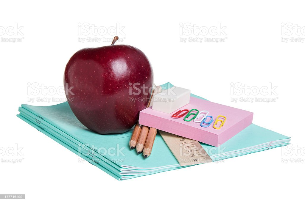 school supplies with apple royalty-free stock photo