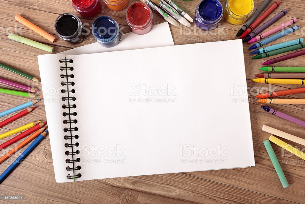 School supplies with blank art book stock photo