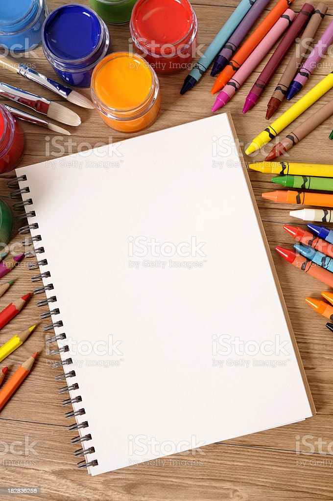 School supplies with blank book royalty-free stock photo