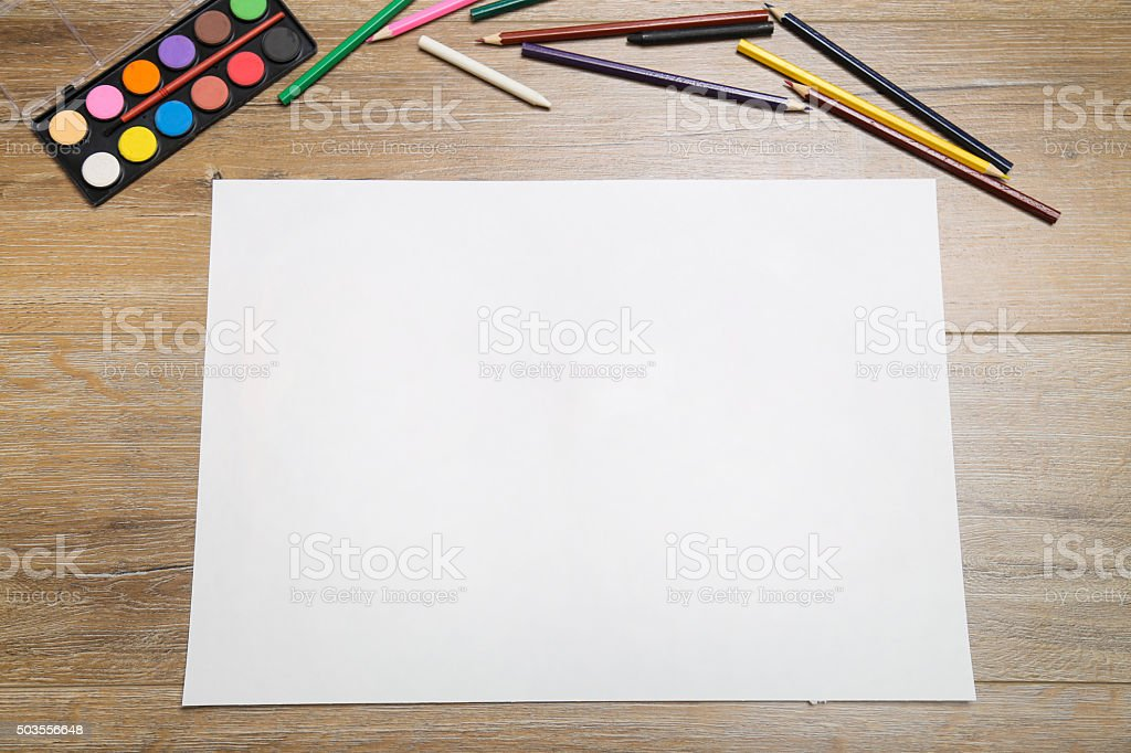 School supplies with blank paper stock photo