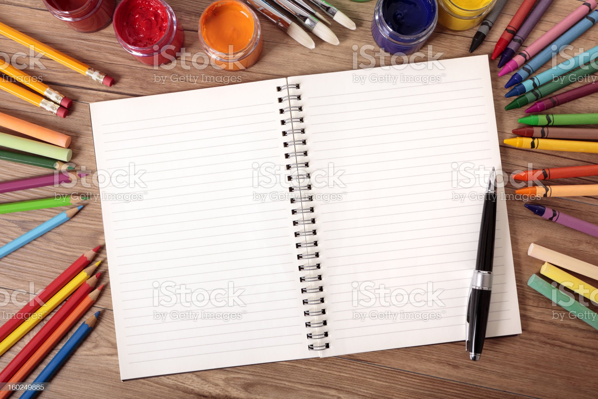 School supplies with blank writing book royalty-free stock photo