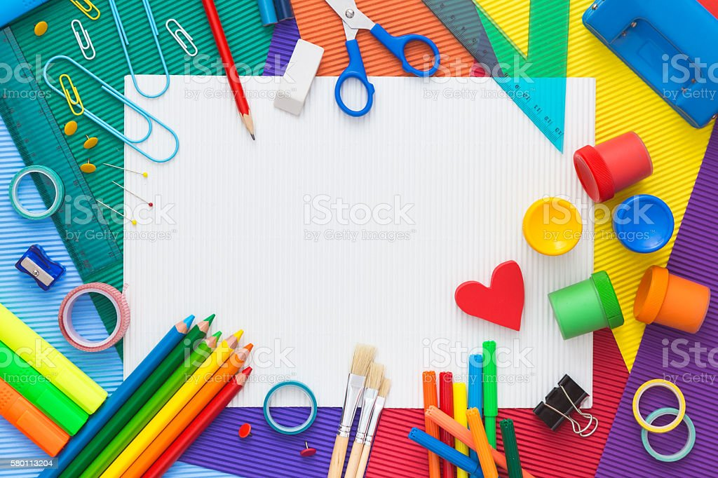 School supplies with copy space. Top view. stock photo