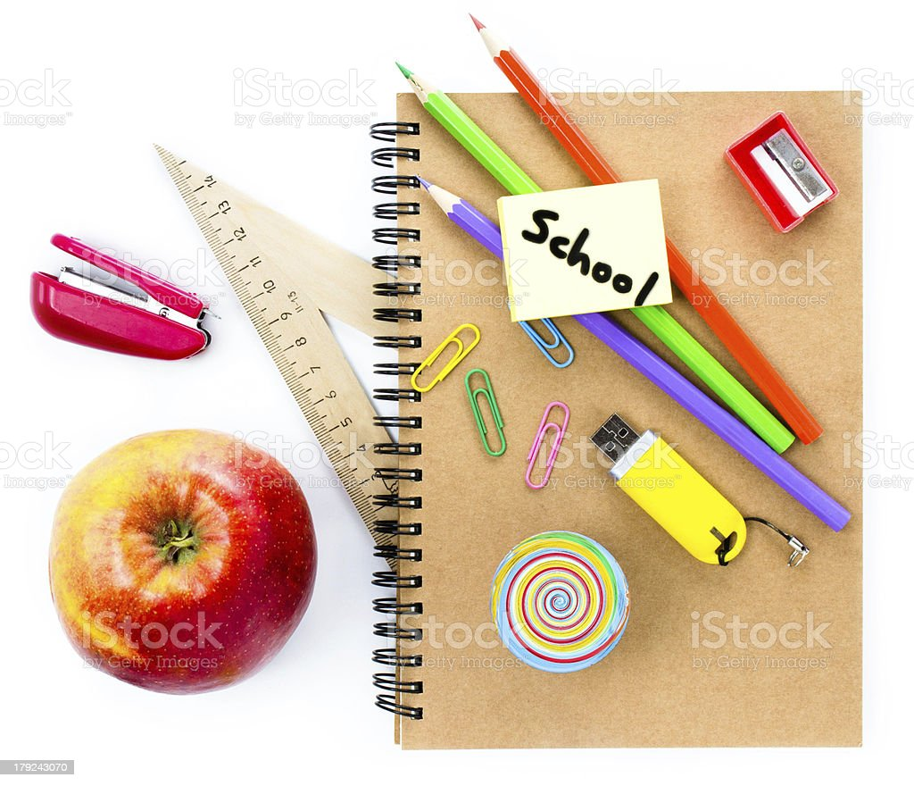 School supplies with Globe, apple, pencils and notebook royalty-free stock photo