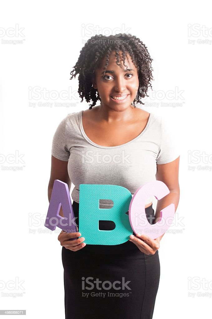 School Teacher holding ABC stock photo