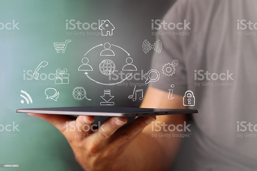 School use the Tablet and a world of services stock photo
