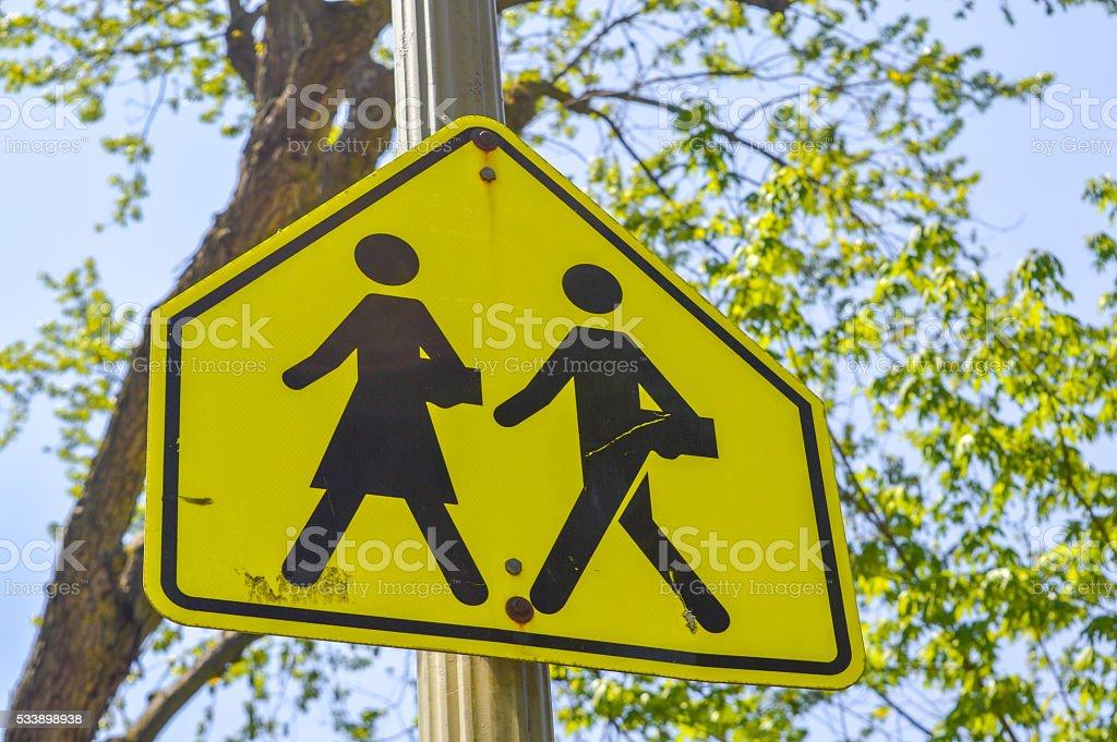 School warning sign stock photo