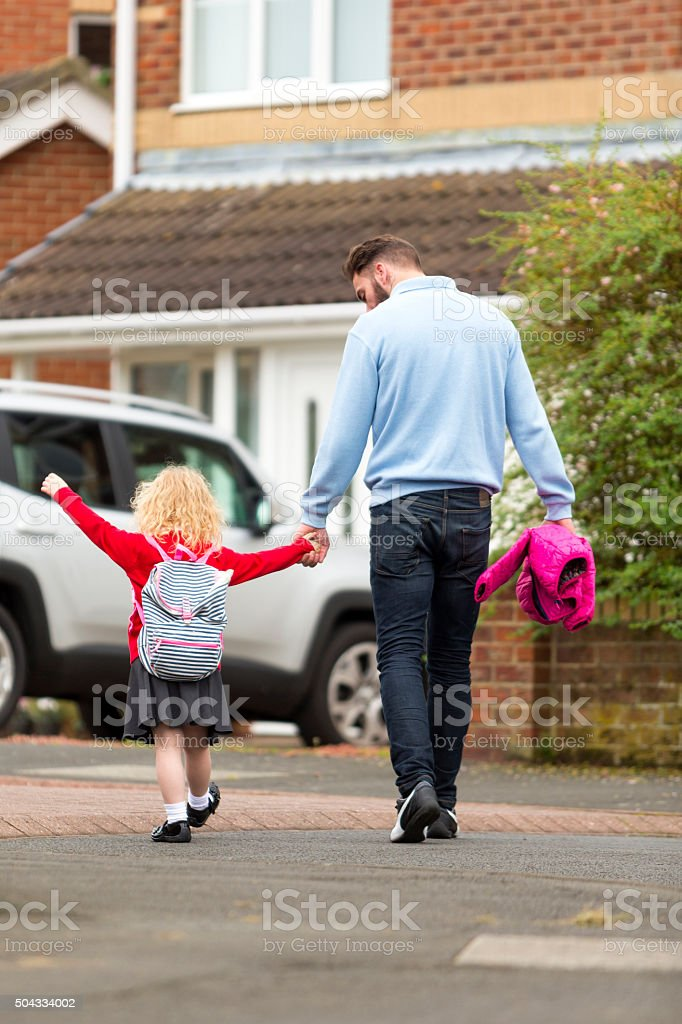 School was great today dad! stock photo