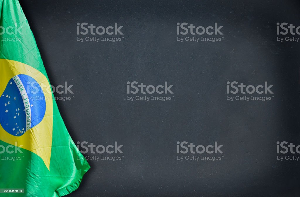School with flag stock photo