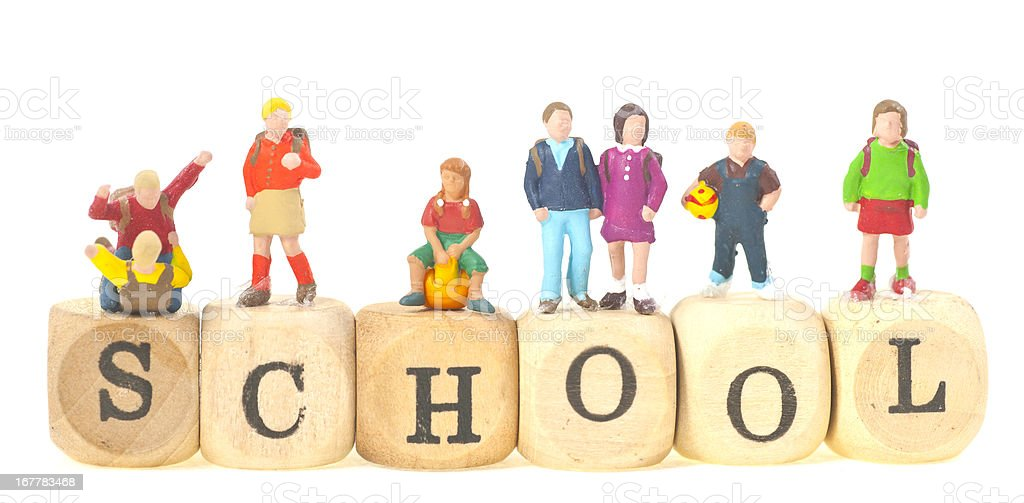 school with pupils and teacher stock photo