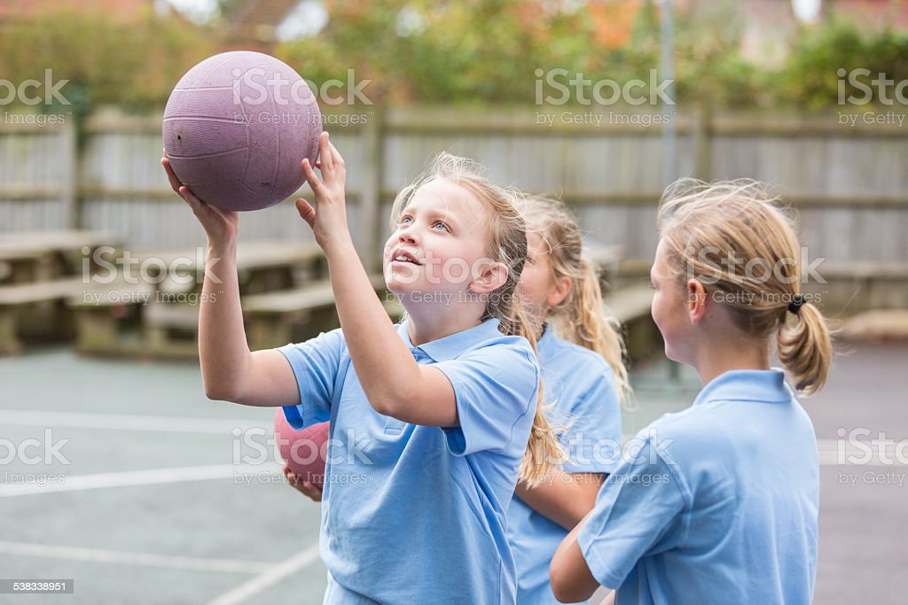 School Yard Netball Sport Girls stock photo