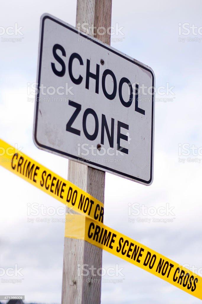 School Zone Crime Scene stock photo
