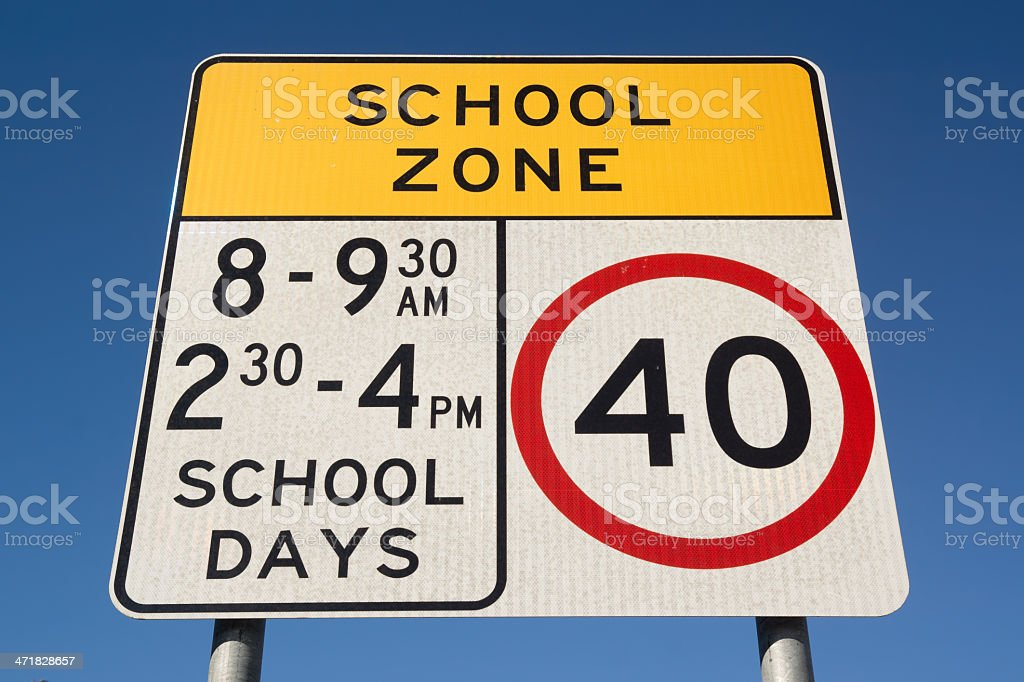 School Zone in Australia royalty-free stock photo
