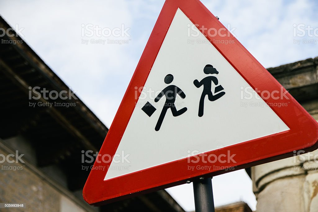 School zone road sign stock photo
