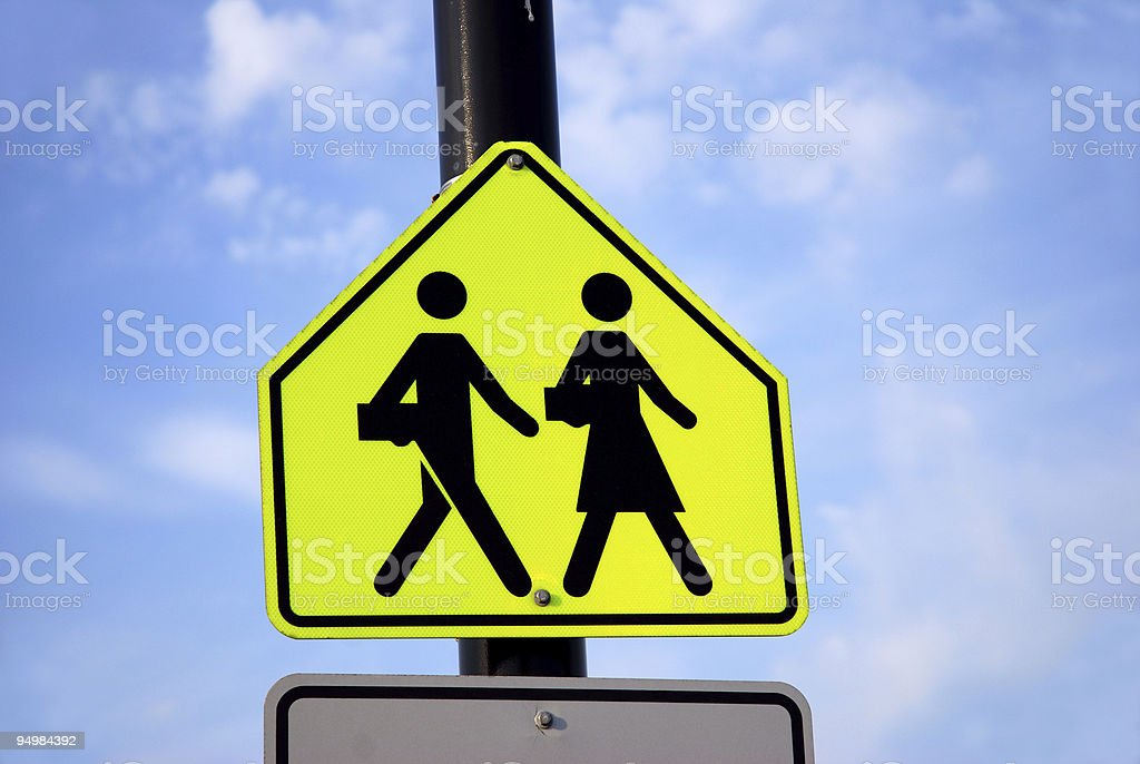 School zone road sign royalty-free stock photo