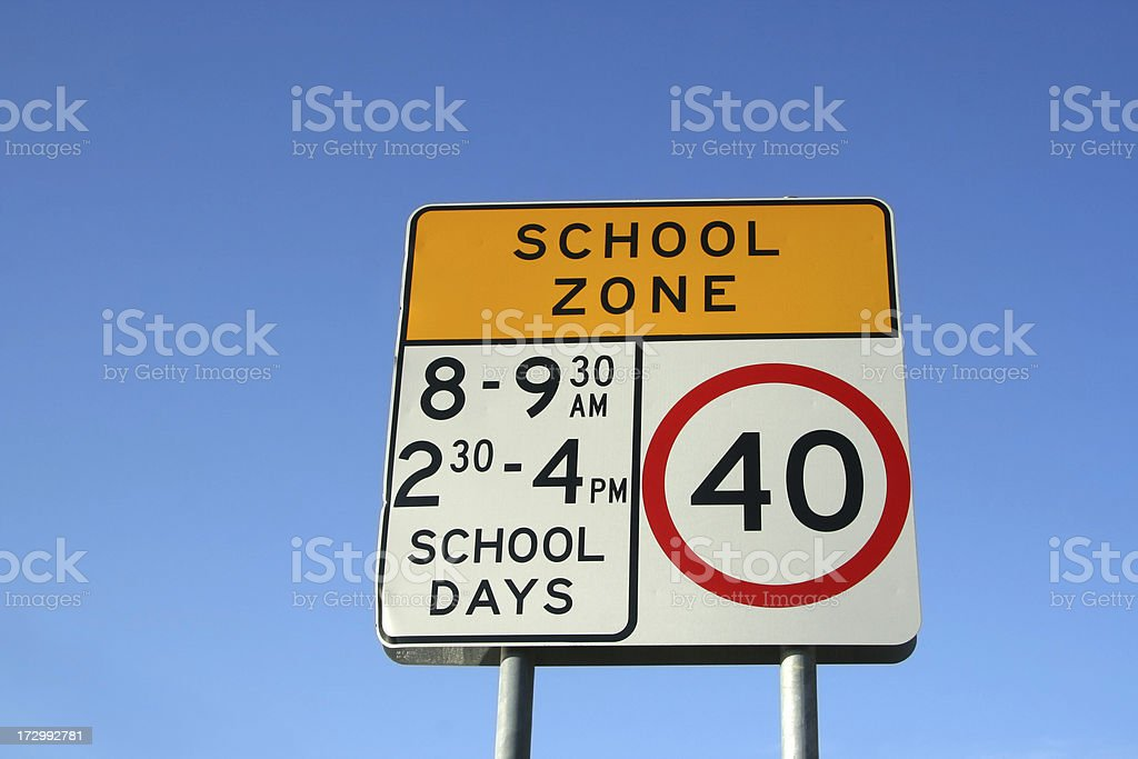 School Zone Safety Sign stock photo