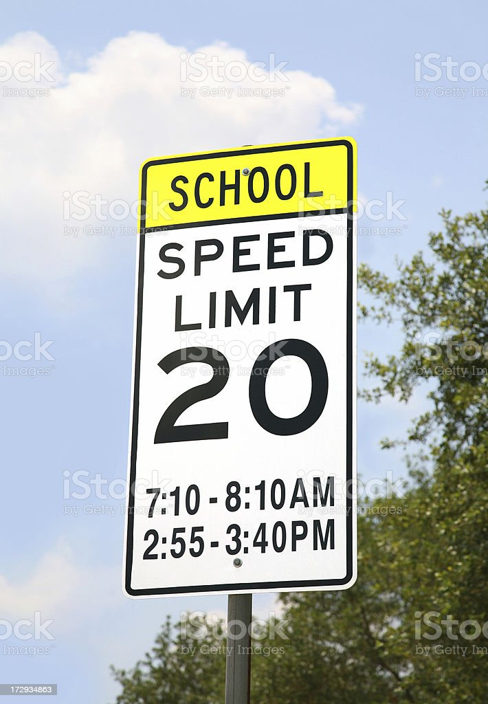 school zone speed limit sign stock photo