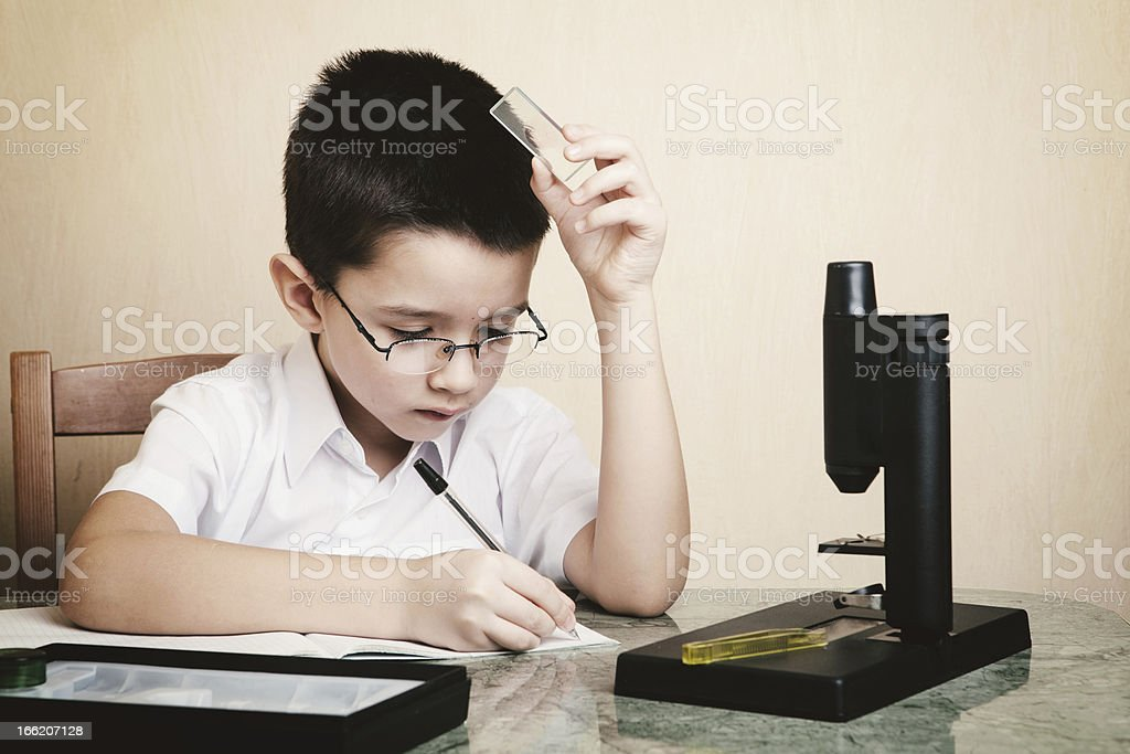 Schoolboy doing his hoomwork royalty-free stock photo