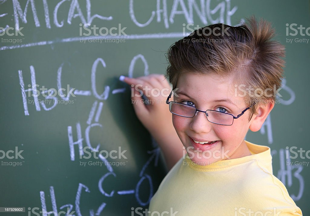 Schoolboy in the classroom royalty-free stock photo
