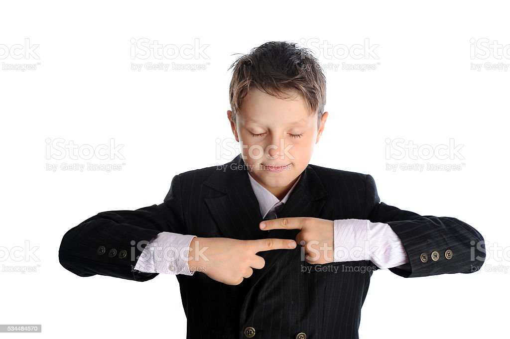 Schoolboy is reading fortune stock photo
