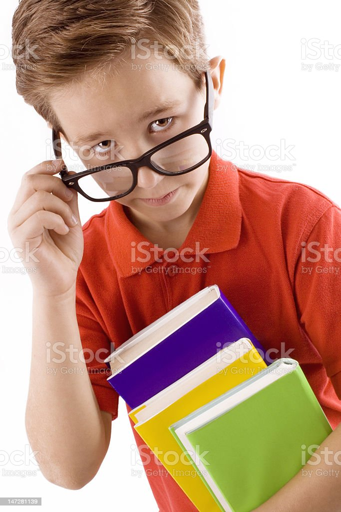 Schoolboy with books royalty-free stock photo