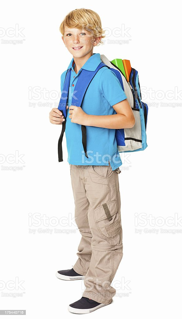 Schoolboy With His Rucksack - Isolated royalty-free stock photo