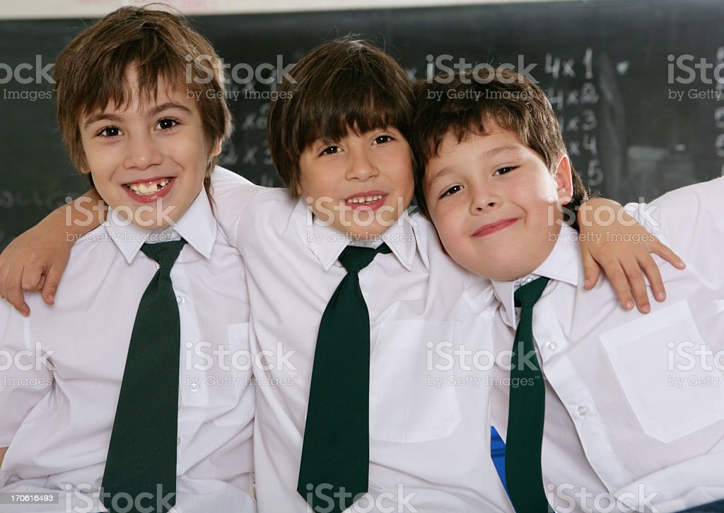 schoolboys in a classroom royalty-free stock photo