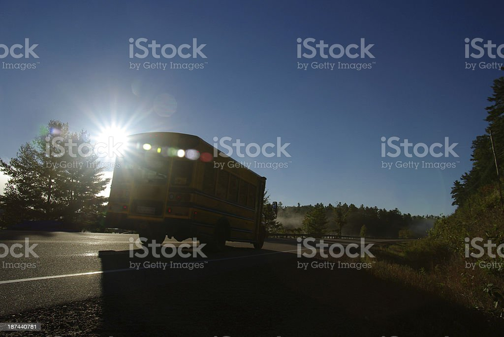 Schoolbus early in the morning royalty-free stock photo
