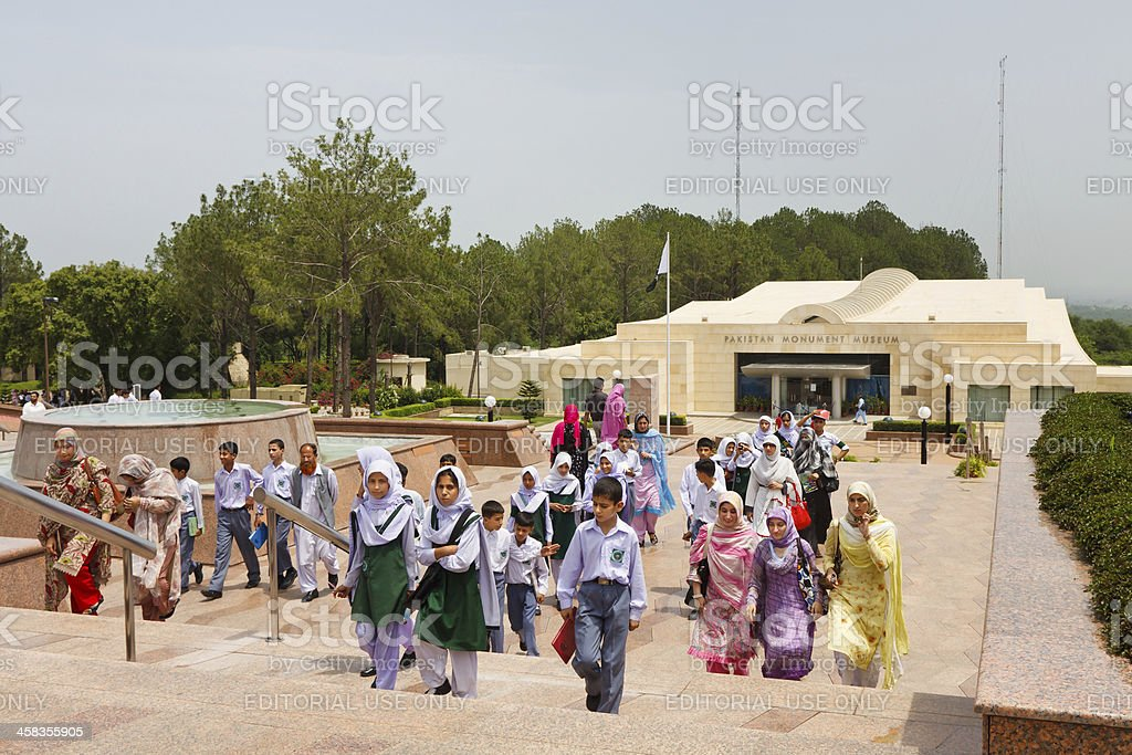 Schoolchildren at the Pakistan Monument, Islamabad stock photo