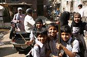 Schoolchildren having fun together in India