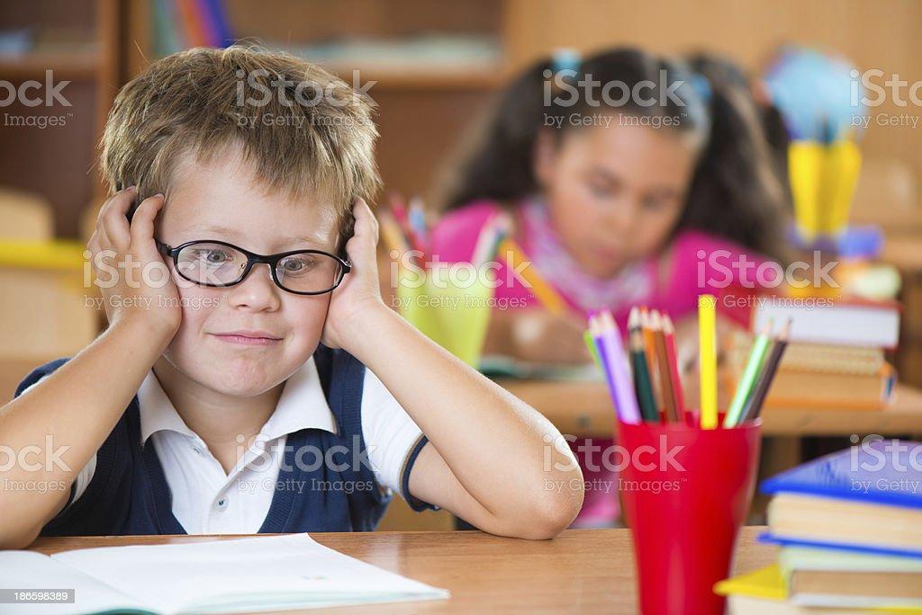 Schoolchildren in classroom at school royalty-free stock photo