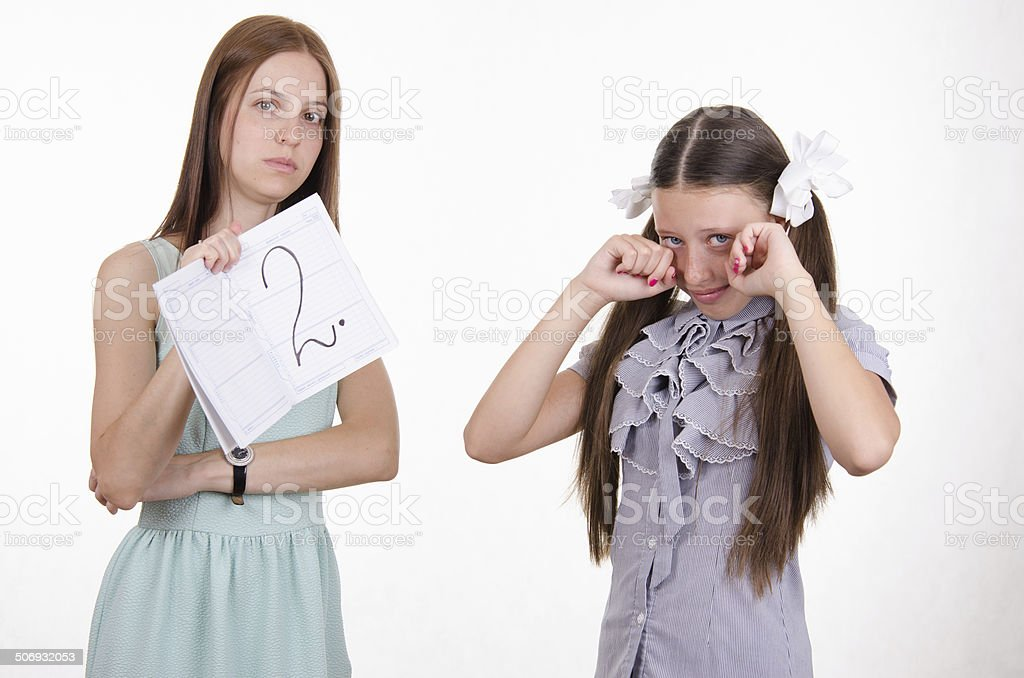 Schoolgirl crying because of two entries stock photo