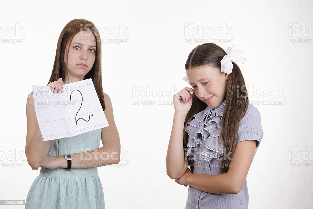 Schoolgirl crying because of two received stock photo