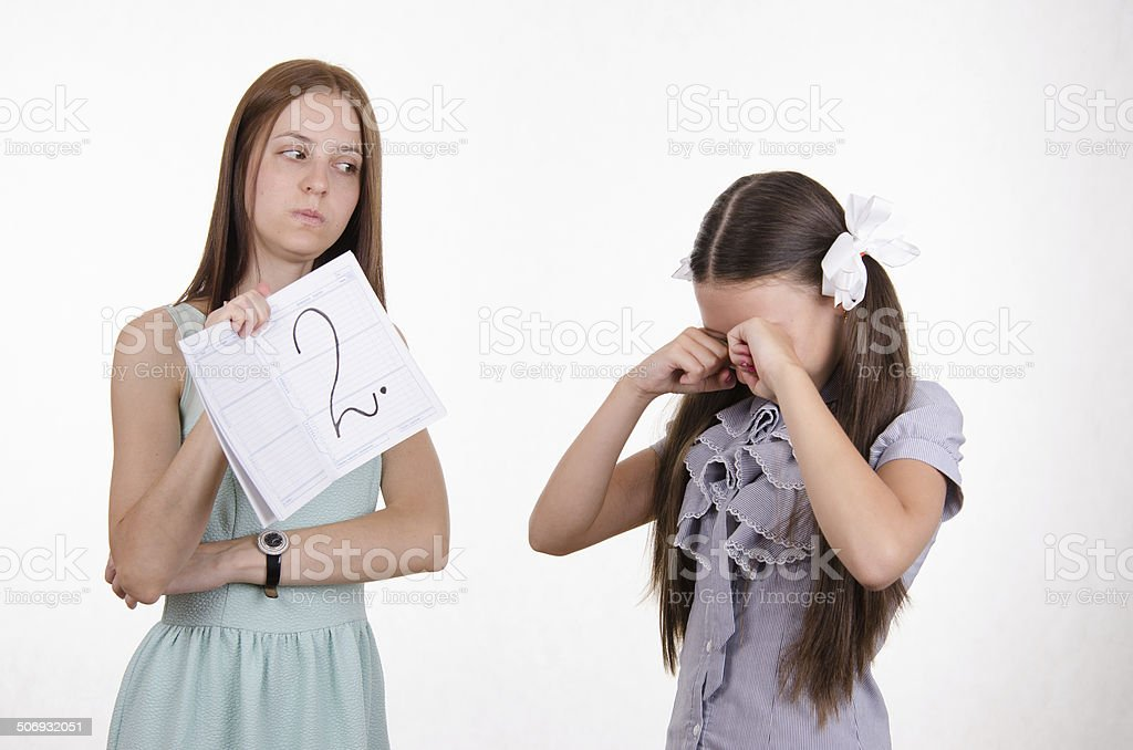 Schoolgirl crying upset because of two received stock photo