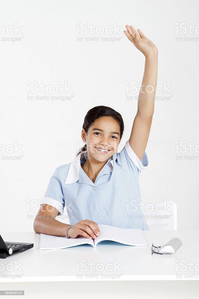 schoolgirl hand up royalty-free stock photo