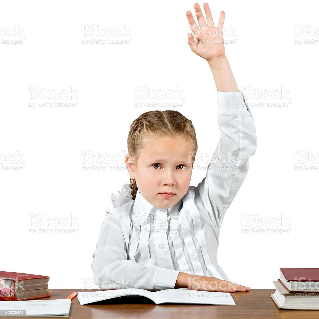 Schoolgirl hand up stock photo