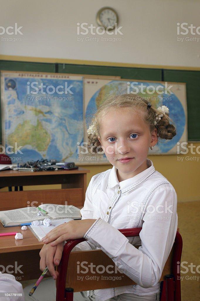 schoolgirl. Lesson royalty-free stock photo