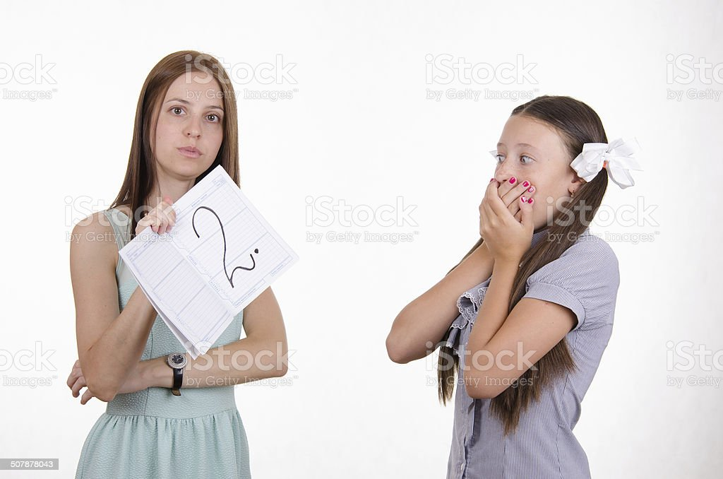 Schoolgirl shocked by obtained twos stock photo