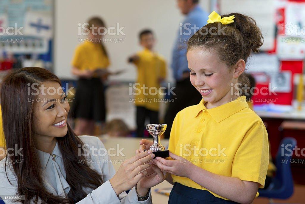 schoolgirl winner royalty-free stock photo