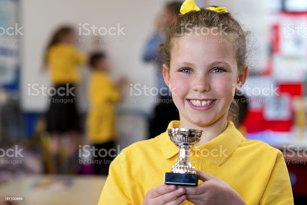 schoolgirl winner stock photo