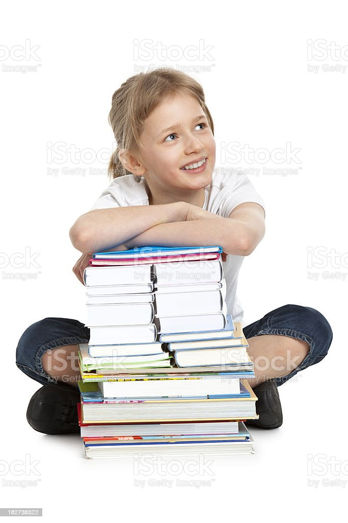 schoolgirl with book royalty-free stock photo