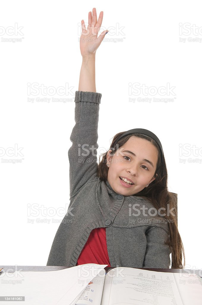 Schoolgirl with Hand Raised royalty-free stock photo