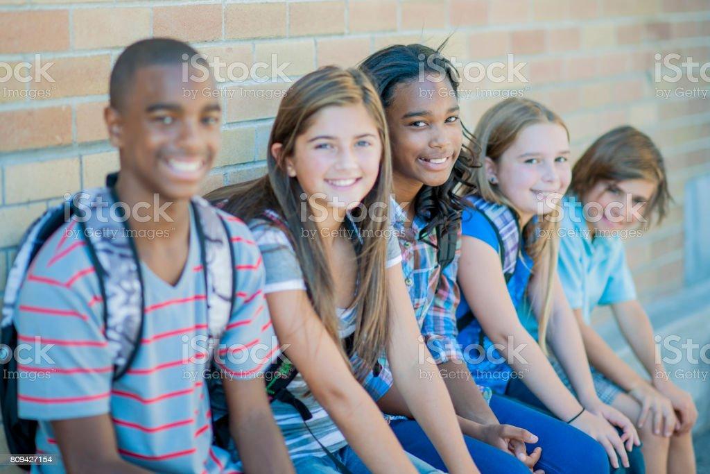 Schoolmates stock photo