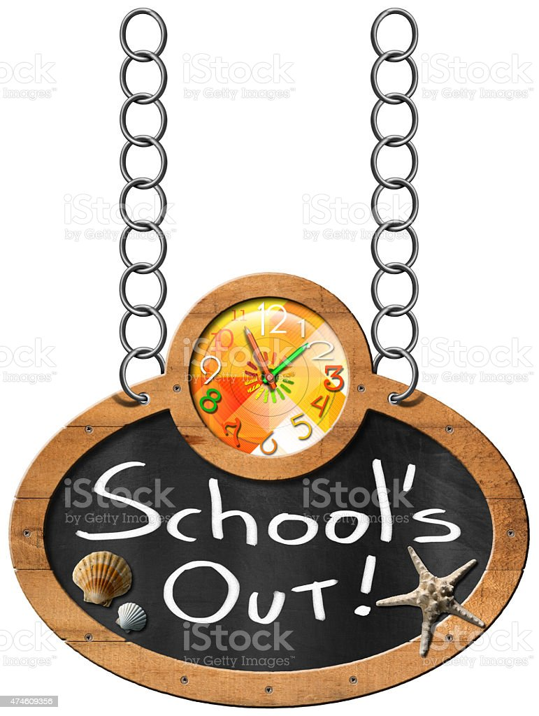 School's Out - Blackboard with Chain stock photo